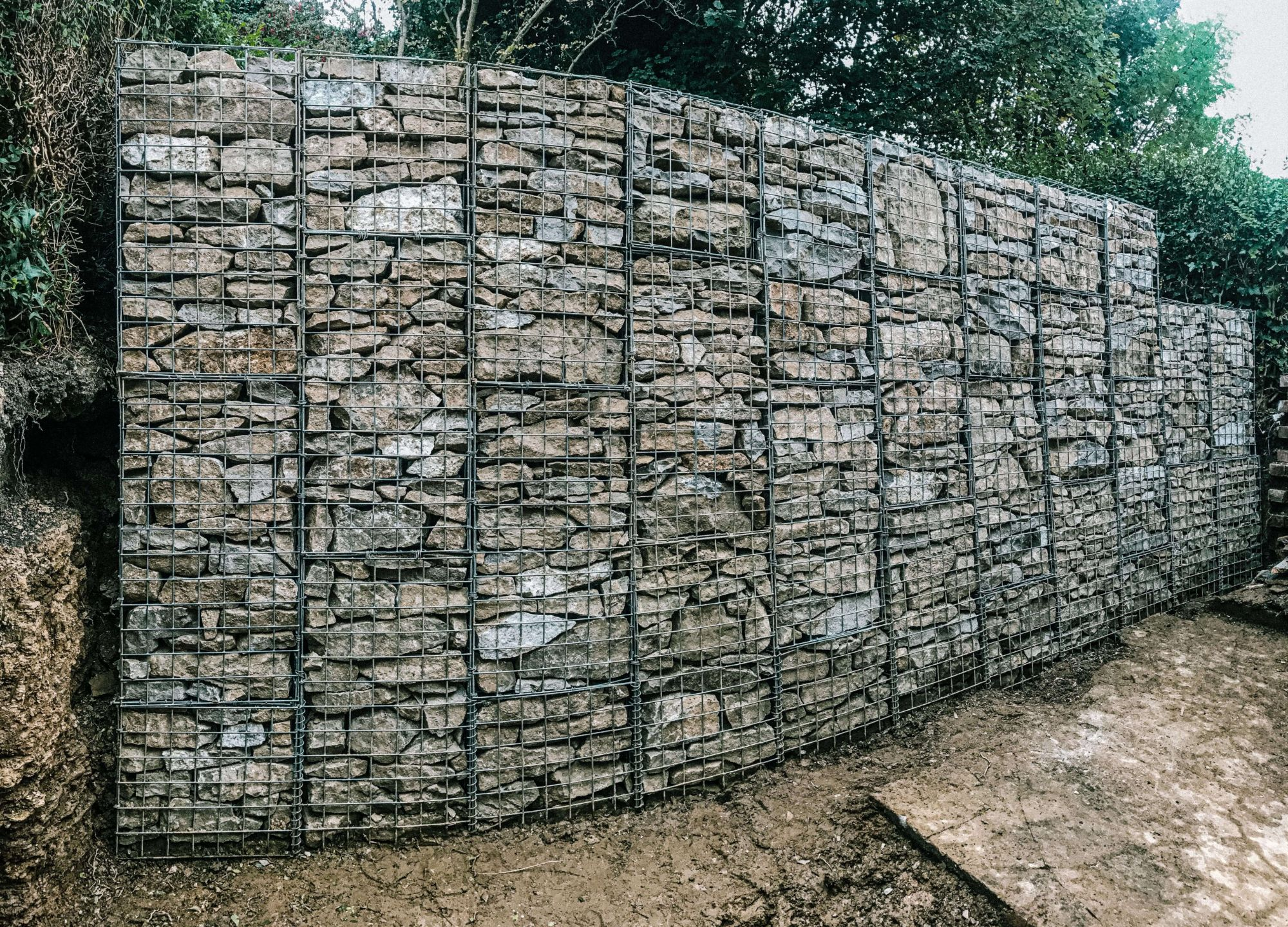A photo of a gabion basket dry stone wall in Ecclesall in Sheffield